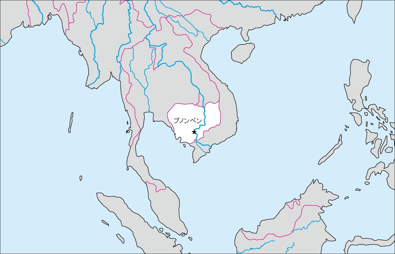カンボジアの白地図