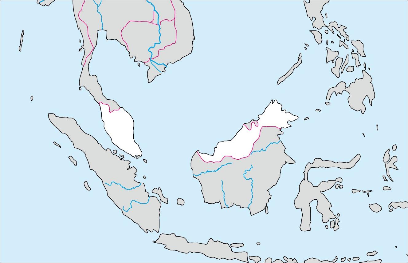 マレーシア白地図(首都なし)の ... : 世界の国々の名前 : すべての講義