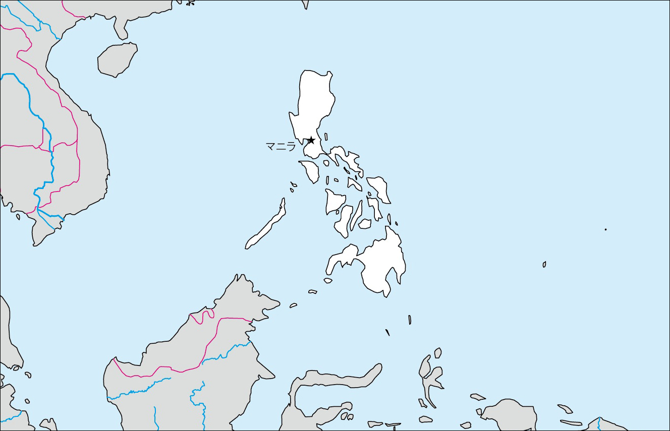 フィリピン白地図(首都あり)のフリー画像 フィリピン白地図(首都なし)のフリー画像 フィリピンの