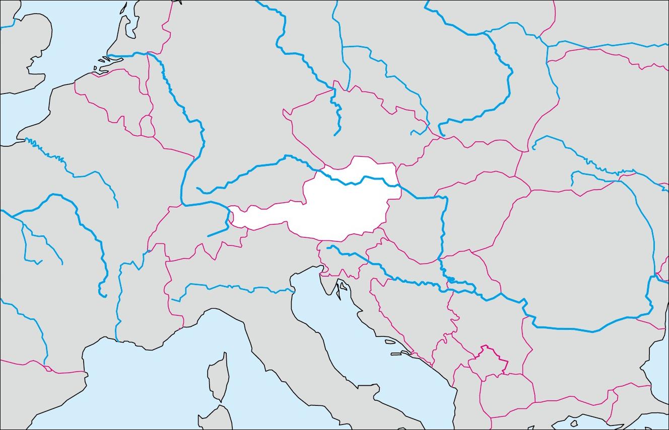 オーストリアの白地図   各国の ... : 世界地図 ぬりえ : 世界地図