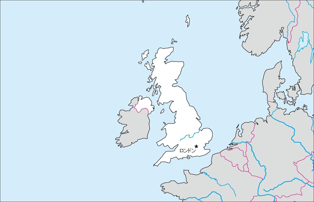 イギリス白地図(首都あり)の ...