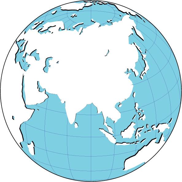 World Globe Map Asia : 世界白地図 : 白地図