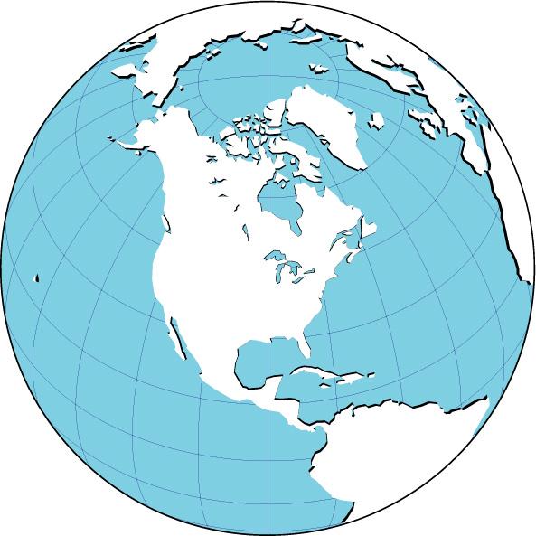 影付地図(北アメリカ中心