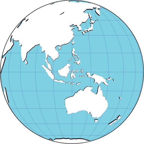 World Globe Asia : 世界地図と国旗 : 世界地図