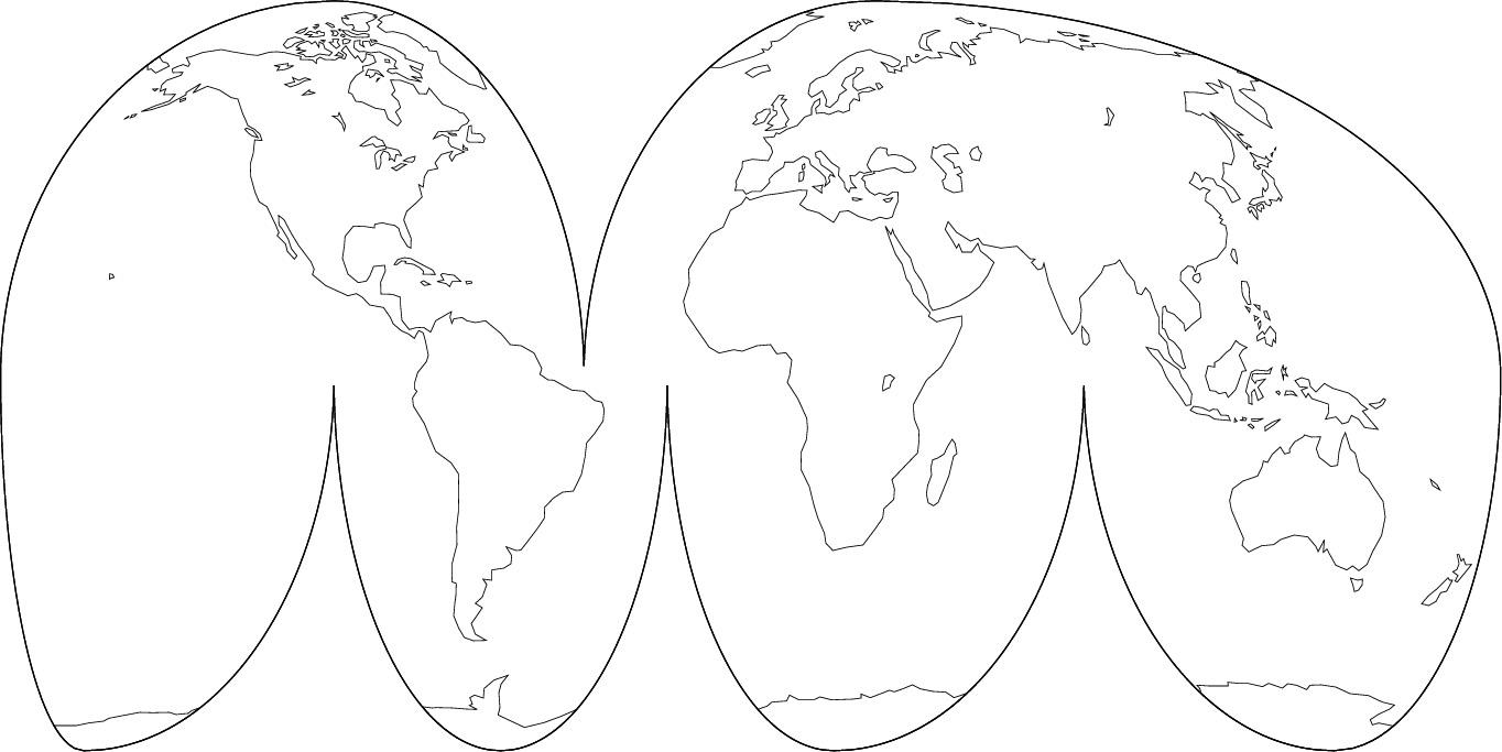 Goode Map Projection : 世界白地図 無料 : 無料