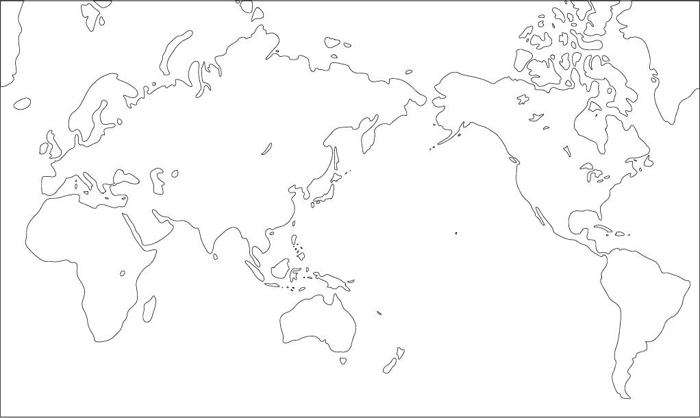 世界地図 フリー 世界地図  ミラー図法白地図(陸地単純化 .