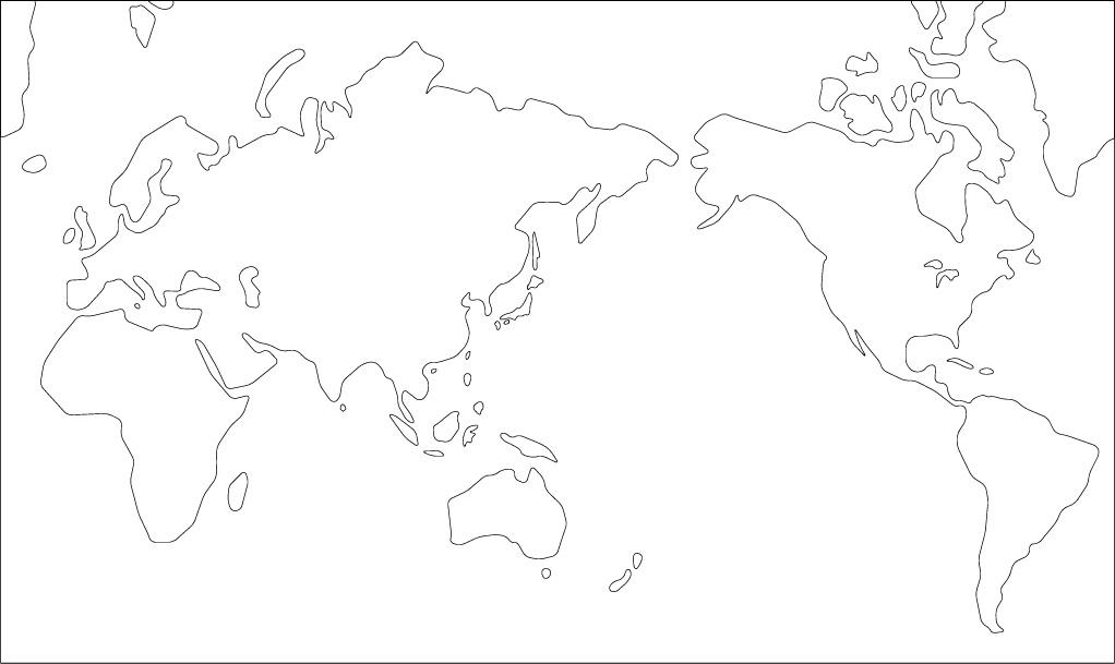 ミラー図法白地図(さらに陸地 ...