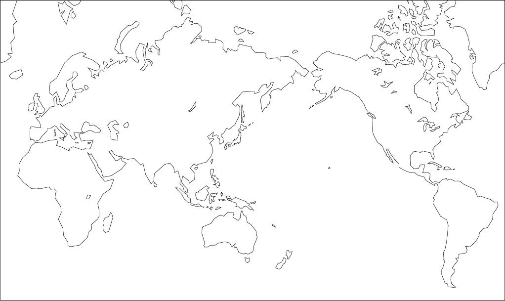ミラー図法白地図(陸地単純化) : 世界地図 白地図 無料 : 世界地図