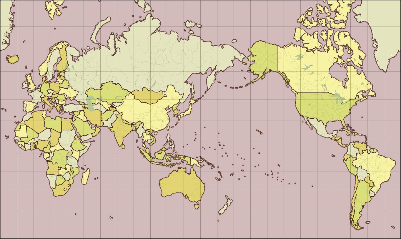 ミラー図法古地図風地図(緯度 ...