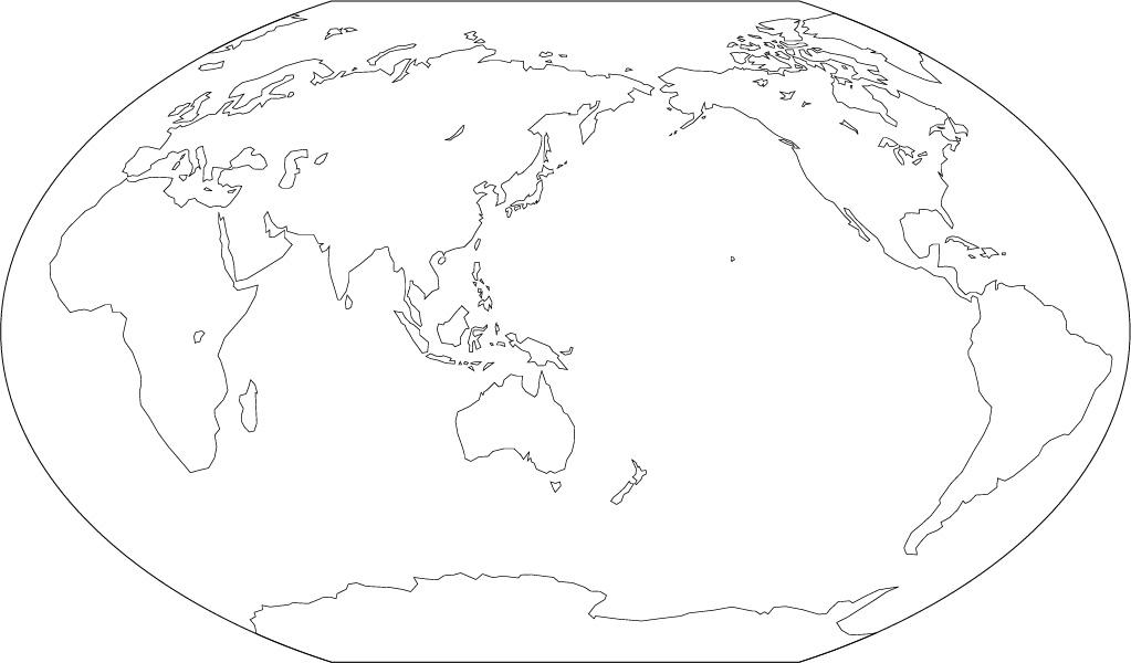ヴィンケル図法白地図陸地単純化